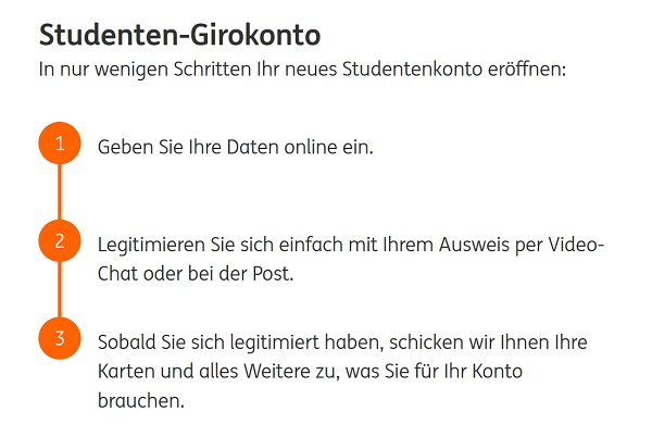 Die Kontoeröffnung des ING Girokonto Student in drei Schritten