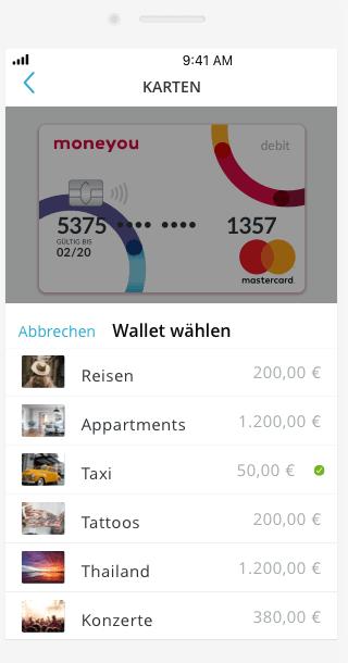 Smartphone App Moneyou Go Übersichtsanzeige